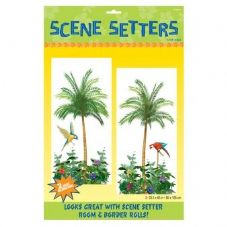 Hawaiian Luau Palm Trees Scene Setter Decorations